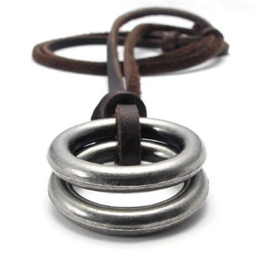 Vintage Style Alloy Double Ring Pendant Adjustable Leather Cord Men Necklace Chain - InnovatoDesign