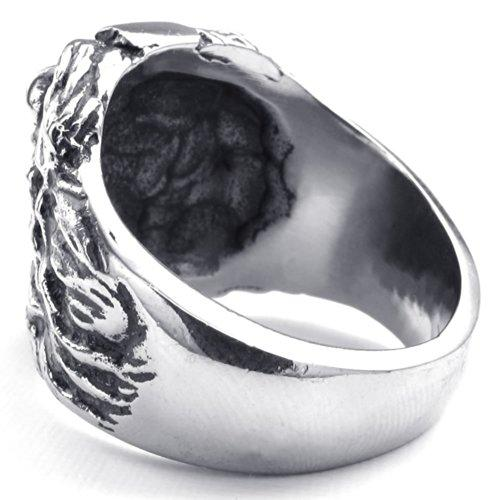 Men Stainless Steel Ring, Vintage Lion, Black - InnovatoDesign