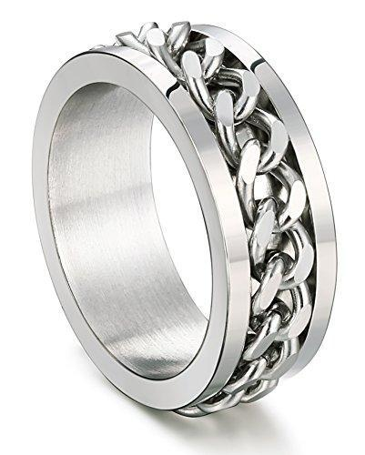 8MM Stainless Steel Rings for Men Engagement Wedding Band Chain Ring, Size 7-13