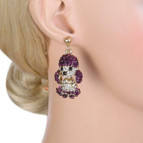 Women's Austrian Crystal Adorable Animal Poodle Bow-tie Dangle Earrings - InnovatoDesign