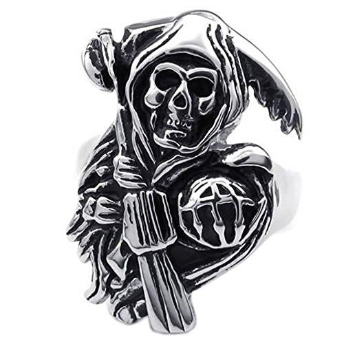 Stainless Steel Band Casted Grim Reaper Skull Biker Men Ring - InnovatoDesign