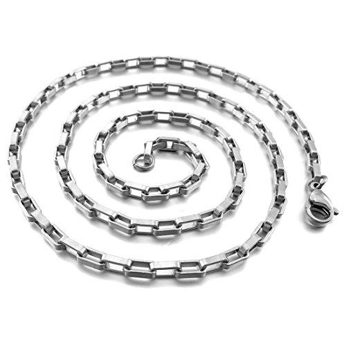 Men's 1.5mm Wide Stainless Steel Necklace Chain Link Silver Tone Rectangular Box 14~40 Inch - InnovatoDesign