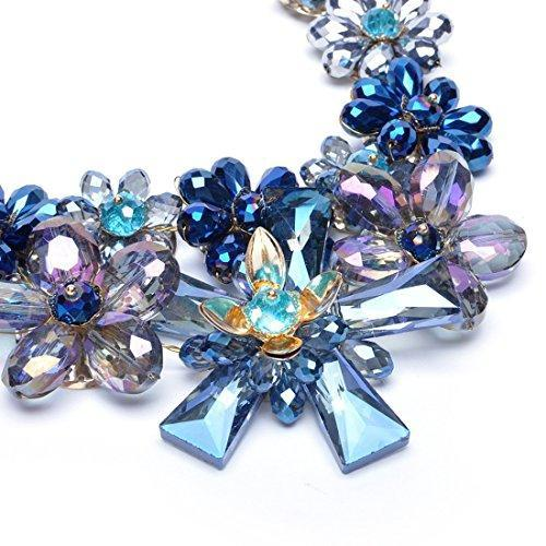 Fashion Charm Colorful Rhinestones Crystal Stone Flower Statement Bib Necklace