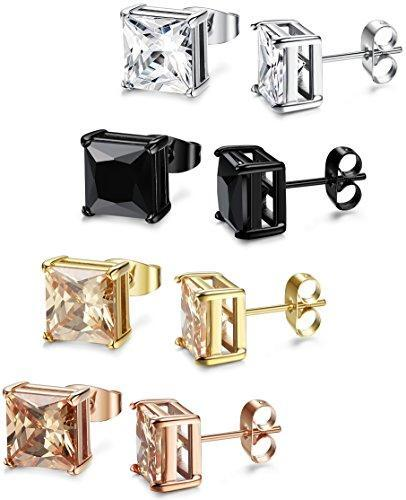 4 Pairs Stainless Steel Square Stud Earrings for Men Women Ear Piercing Earrings Cubic Zirconia Inlaid,3-8mm Available