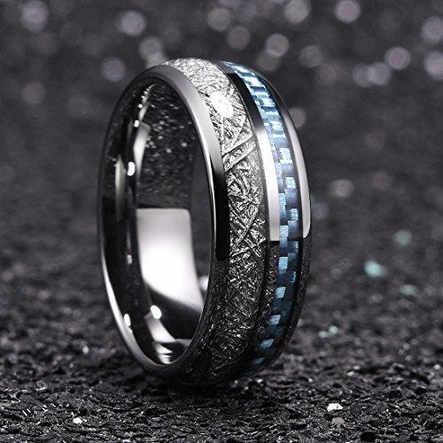 8 mm Men Tungsten Carbide Wedding Ring Imitated Meteorite Blue Carbon