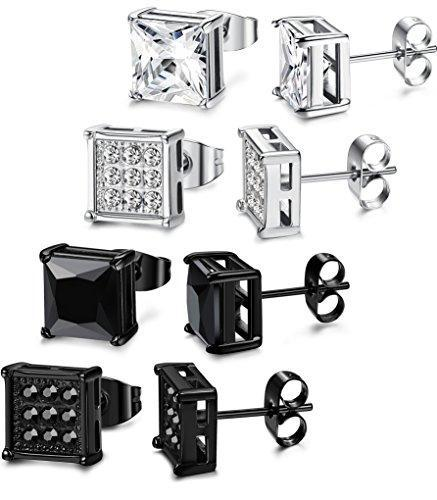 4 Pairs Stainless Steel Stud Earrings for Men Women Square Earrings CZ Inalid,6-8MM
