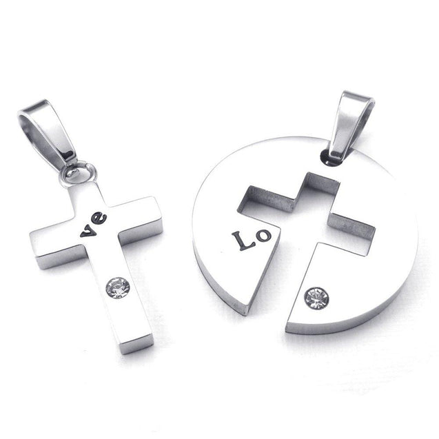 Men Women's 2 PCS Stainless Steel Pendant Necklace CZ Heart Cross Love Couple - With 20 and 23 Inch Chain