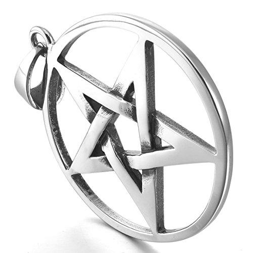 Men's Stainless Steel Pendant Necklace Silver Tone Pentagram Pentacle Star -With 23 Inch Chain - InnovatoDesign