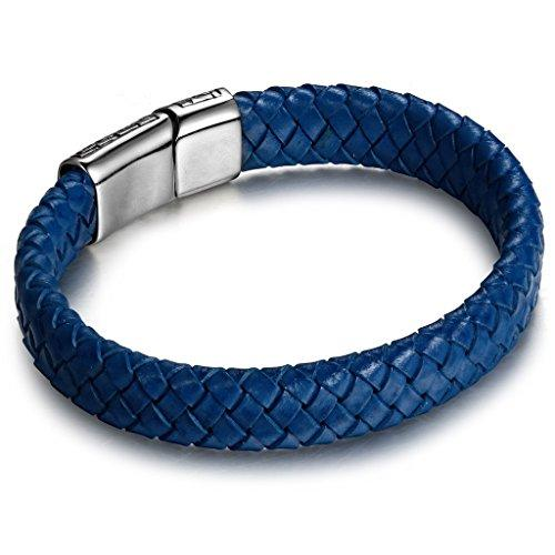 FIBO STEEL Stainless Steel Magnetic Clasp Braided Leather Bracelet for Men Cuff Bracelet 7.5-8.5 inches