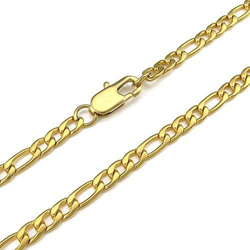 5-9mm 18-40 inch Figaro Links Stainless Steel Chain Men Necklace, Gold,