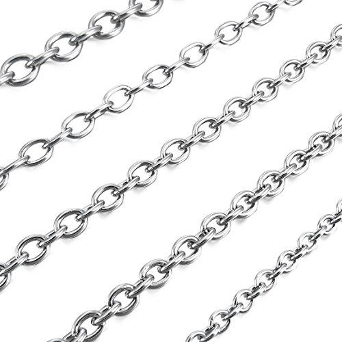 Men's 5mm Wide Stainless Steel Necklace Cable O Chain Link Silver Tone 14~40 Inch - InnovatoDesign