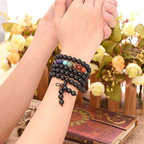 7 Chakra Real Stone Black Obsidian Buddhist Mala Prayer Beads 108 Meditation Healing Multilayer Bracelet/Necklace