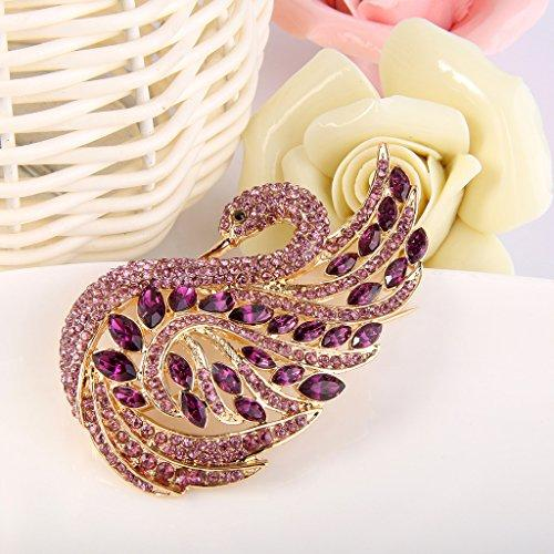 Women's Austrian Crystal Elegant Swan Bird Bridal Brooch Pin - InnovatoDesign