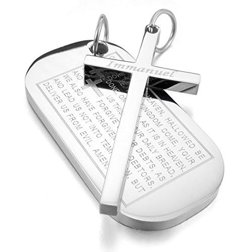 Men's Stainless Steel Pendant Necklace Silver Tone Dog Tag Cross English Bible Lords Prayer -With 23 Inch Chain - InnovatoDesign