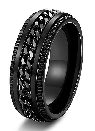 Stainless Steel 8mm Rings for Men Chain Rings Biker Grooved Edge, Size 7-14 - InnovatoDesign