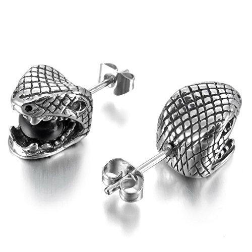 Men's Stainless Steel Stud Earrings Silver Tone Black Green Cobra Snake Ball - InnovatoDesign