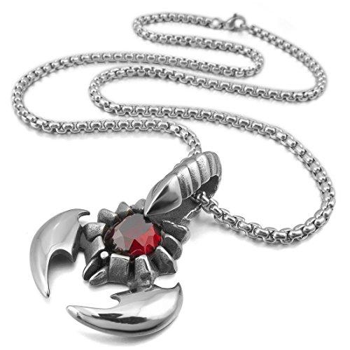 Men's Stainless Steel Pendant Necklace Scorpion King -With 23 Inch Chain - InnovatoDesign