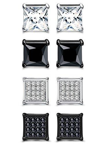 4 Pairs Stainless Steel Men Women Stud Earrings Square Cubic Zirconia Piercing 20G 6-8mm
