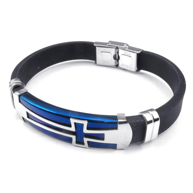 Men Rubber Stainless Steel Bracelet Cross Cuff Bangle Blue Silver Black - InnovatoDesign