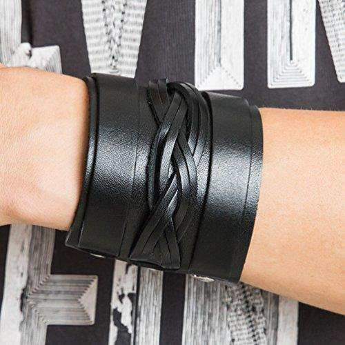 Braided Mens Wide Black Leather Bracelet Wristband Bangle with Snap Buttons