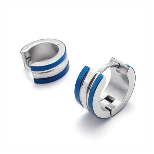 Stainless Steel Men Huggie Hinged Hoop Stud Earrings Set, 2 Pcs, Color Blue Silver - InnovatoDesign