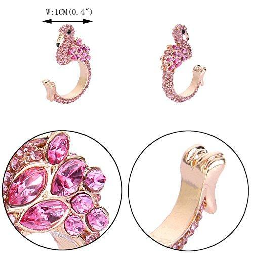 Gold-Tone Austrian Crystal Lovely Little Flamingo Statement Cuff Ring Pink