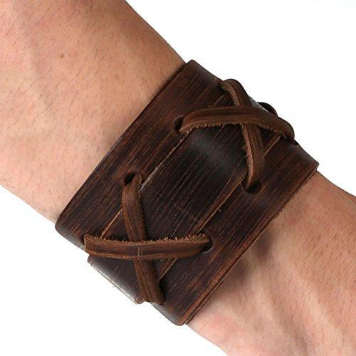 Authentic Wide Leather Casual Mens Brown Cuff Bangle Bracelet