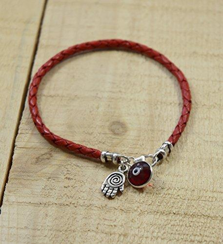 Spiral Hamsa for Protection in Sterling Silver on Red Braided Leather Bracelet - 7 - InnovatoDesign