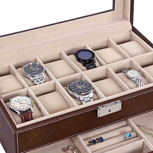 Men Watch Organizer Jewelry & Accessories Holder Display Case with Lock and Keys Black - InnovatoDesign