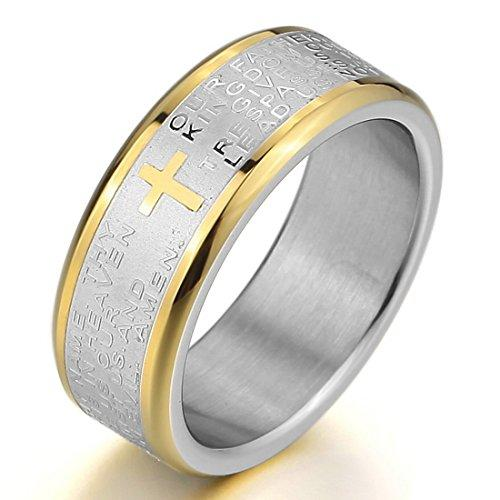 Men's Stainless Steel Ring Band Silver Gold Tone Bible Lords Prayer Cross Wedding - InnovatoDesign