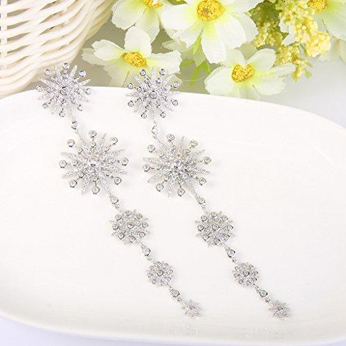 Women's Cubic Zirconia Gorgeous Snowflake Chandelier Long Dangle Earrings Clear Silver-Tone - InnovatoDesign