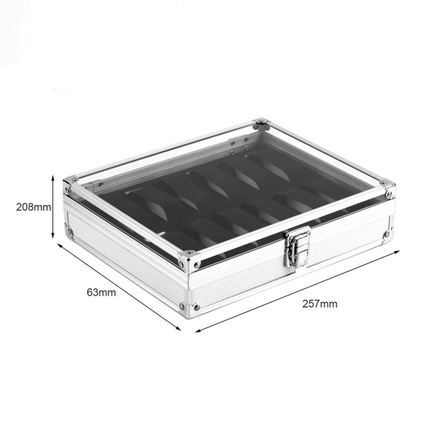Silver Watch and Jewelry Display Metal Storage Box - InnovatoDesign