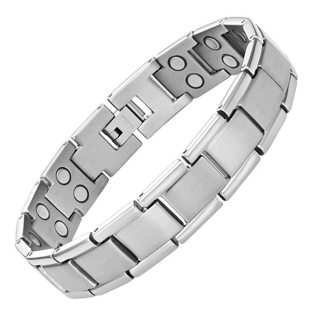 Double Strength Titanium Magnetic Therapy Bracelet For Arthritis Pain Relief Silver Color