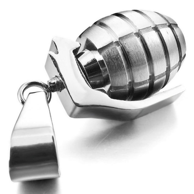 Men's Stainless Steel Pendant Necklace Silver Tone Grenade -With 23 Inch Chain - InnovatoDesign