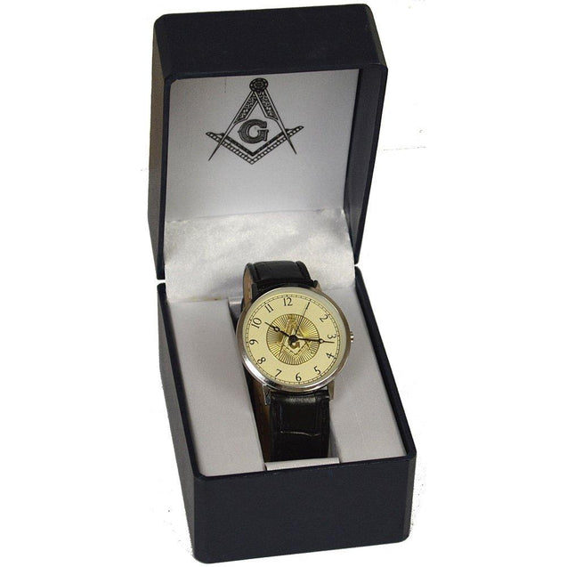 Masonic Freemason Square & Compasses Leather Band Wrist Watch - InnovatoDesign