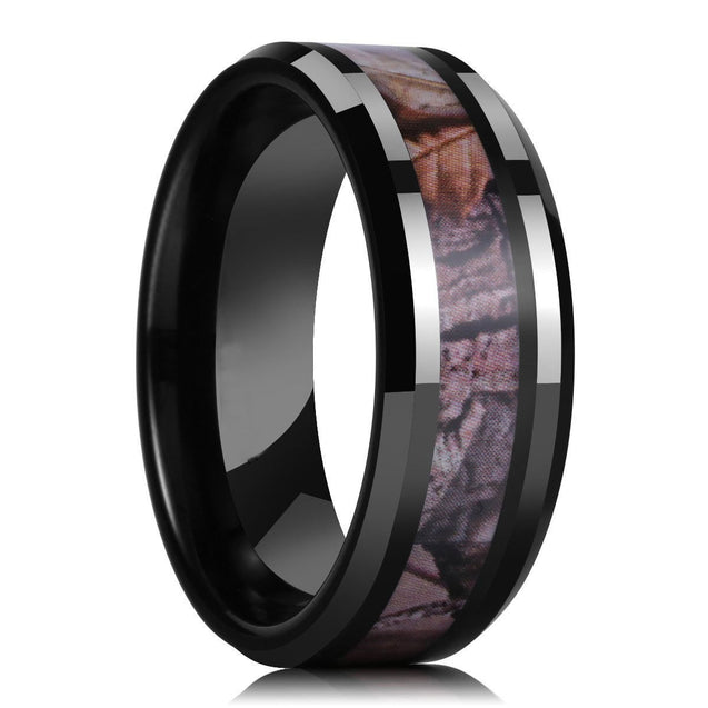 8 mm Men Black Tungsten Carbide Ring Camo Camouflage Comfort Fit Wedding Band