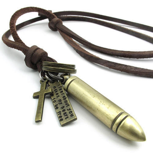 Men Vintage Style Bullet Cross Pendant Adjustable Brown Leather Cord Necklace Chain - InnovatoDesign
