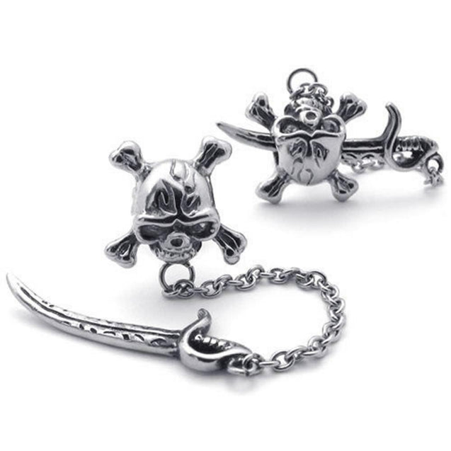 Men Vintage Stainless Steel Pirate Skull Stud Earrings Set, 2pcs, Color Silver - InnovatoDesign