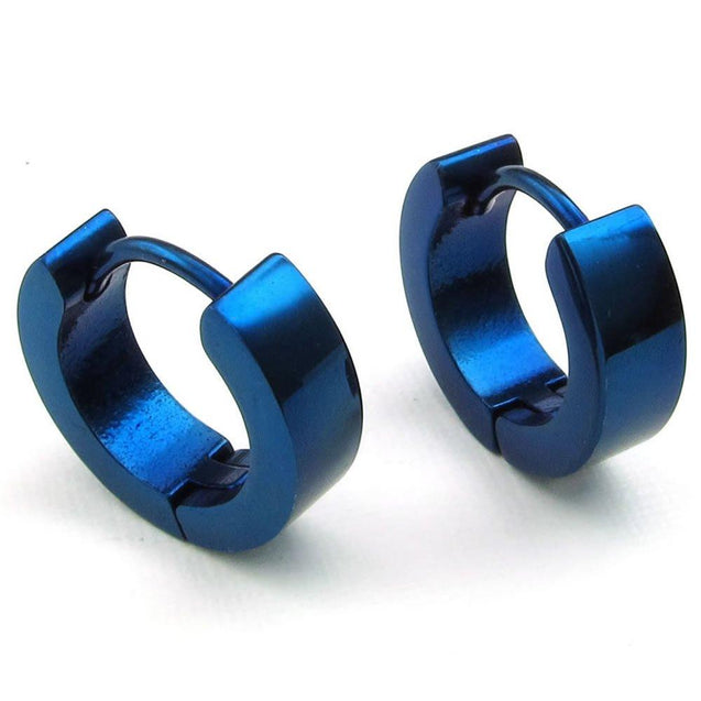 Men Stainless Steel Classic Plain Huggie Hinged Hoop Earrings