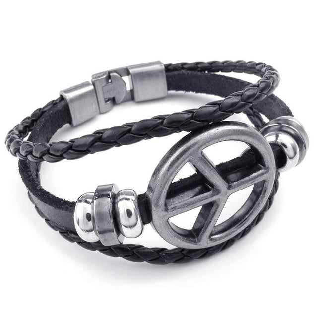 Men Women Genuine Leather Bracelet, Peace Symbol Braided Cuff Bangle, Black Silver - InnovatoDesign
