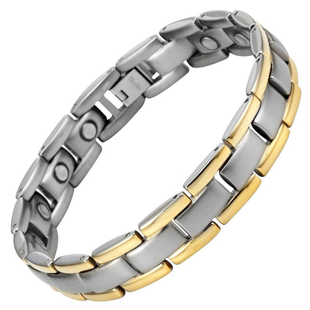 Titanium Magnetic Therapy Bracelet Two Tone Adjustable - InnovatoDesign