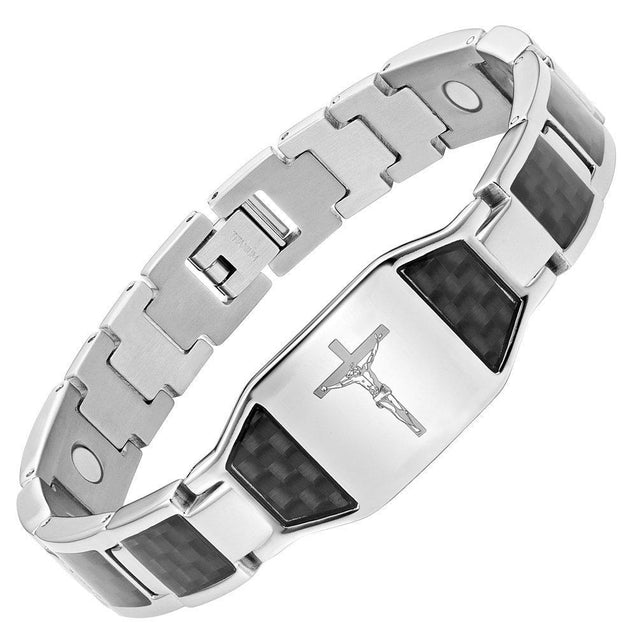 Men's Christian Jesus Crucifix Cross Black Carbon Fiber Titanium Magnetic Bracelet - InnovatoDesign