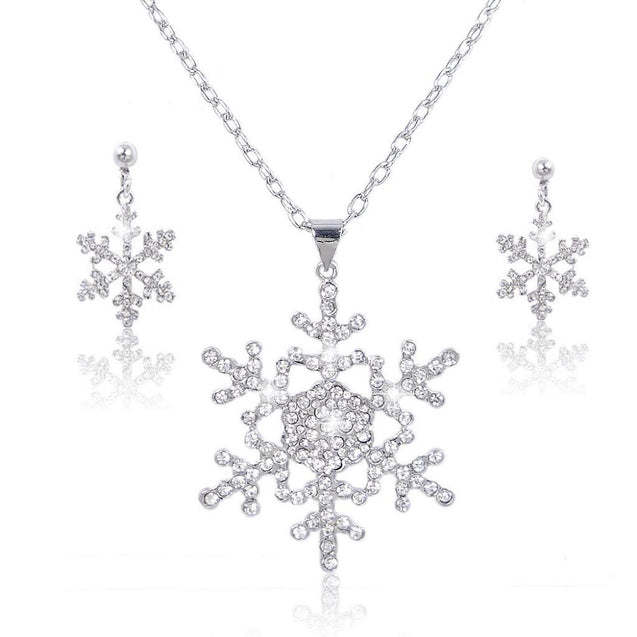 Austrian Crystal Bridal Snowflake Necklace Earrings Set Clear Silver-Tone