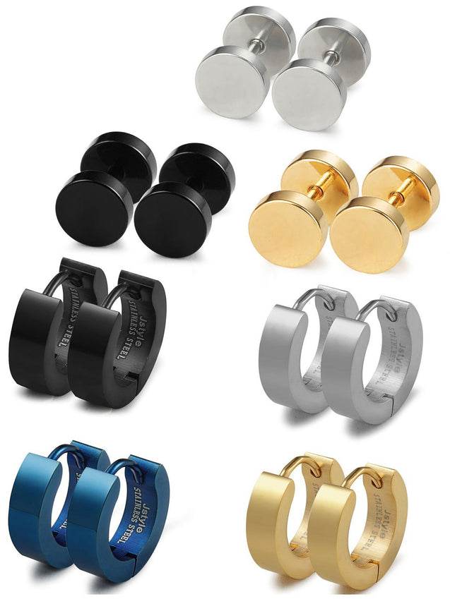 Stainless Steel Men Women Stud Earrings Hoop Earrings for Men Piercing 7 Pairs - InnovatoDesign