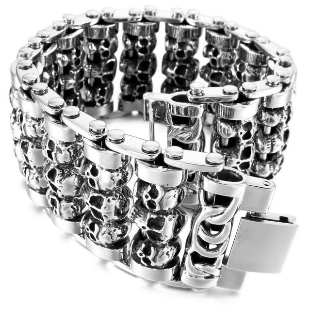 Men's Large Heavy Stainless Steel Bracelet Link Wrist Silver Tone Skull( Weight : 187g ) - InnovatoDesign