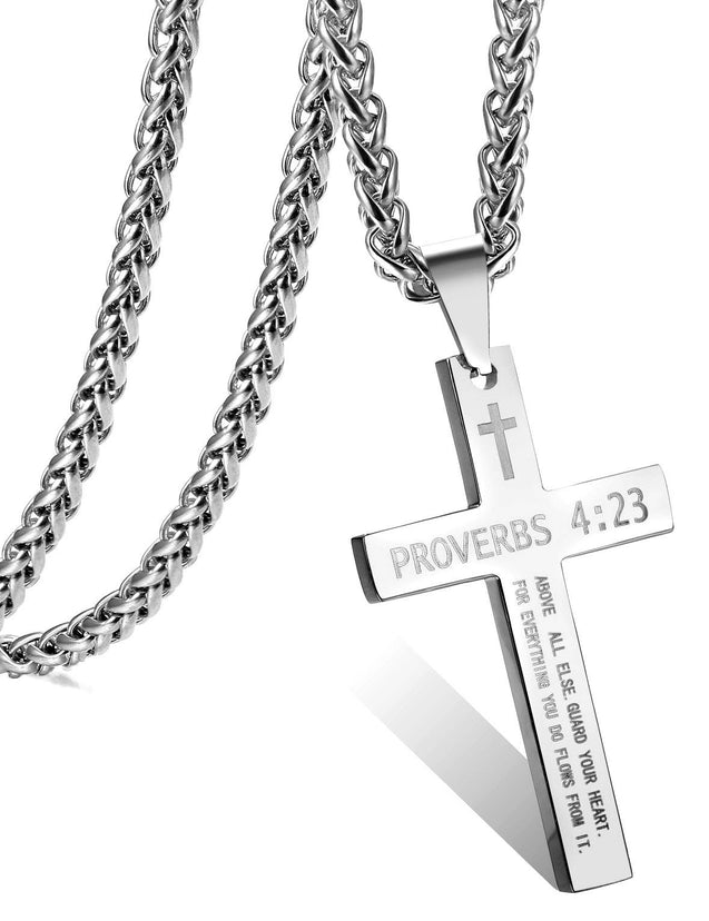 Stainless Steel Cross Necklace for Men Women Bible Verse Pendant Necklace Chain 22-24 Inches - InnovatoDesign