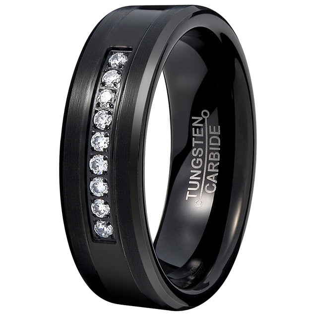 Men Black 8mm Tungsten Carbide Ring Vintage Cubic Zirconia Wedding Jewelry Engagement Promise Band for Him Matte Finish Comfort Fit - InnovatoDesign