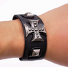 Men's Wide Alloy Genuine Leather Bracelet Bangle Cuff Black Cross Punk Belt - InnovatoDesign