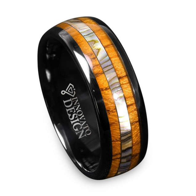 8mm Tungsten Carbide Black Ring with Koa Wood and Abalone Inlay