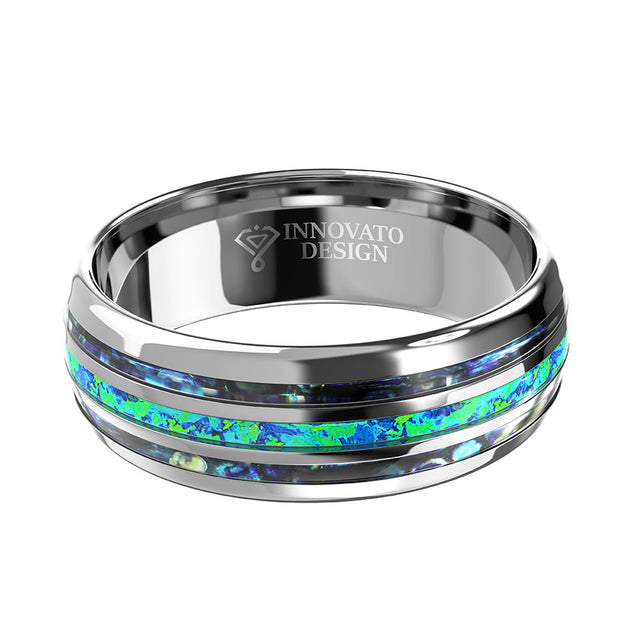 8mm Blue Green Abalone Silver Tungsten Carbide Band